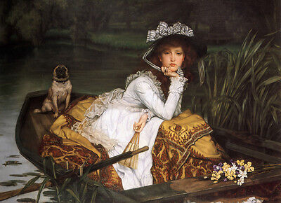 """Art Oil painting Joseph Tissot - Young Lady in a Boat & her pet dog canvas 36"""""""