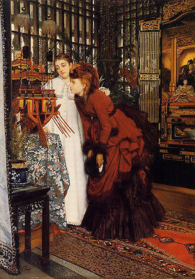 Nice Oil painting Joseph Tissot - Young Women Looking at Japanese Objects canvas