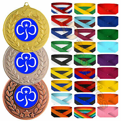 Girl Guides Medal with R/W/B Ribbon -  F/Engraving - Guides Medals & Trophies