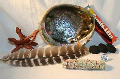 "Abalone Shell BLUE SAGE Charcoal Tablets 4 "" Cobra Wood Stand Smudging Feather"
