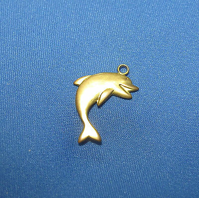 Vintage Dolphin Porpoise Leaping Smiling Fish Goldtone Metal Charm Small Pendant