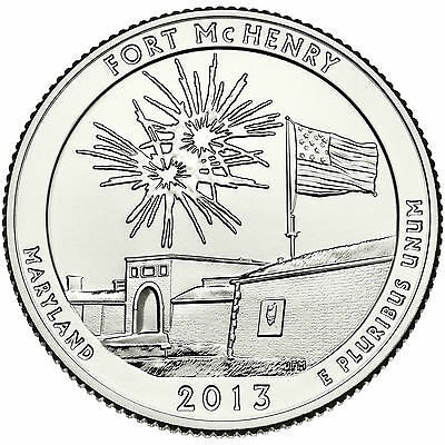 2013 P D Fort McHenry National Memorial MD STATE PARK QUARTER SET BU 25 Cent Ft