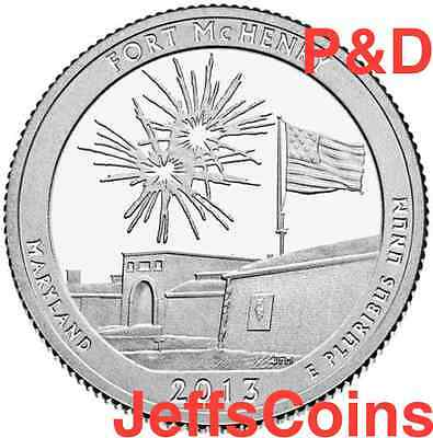 2013 P&D Fort McHenry National Memorial Shrine MD STATE PARK QUARTER SET PD Ft.