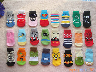 10 x pairs dog puppy gift Pets anti-slip warm soft cute Socks for shoes S/M/L/XL