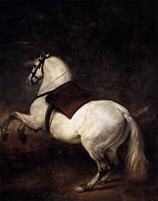Nice Oil painting Diego Velazquez - The White Horse in sunset landscape canvas