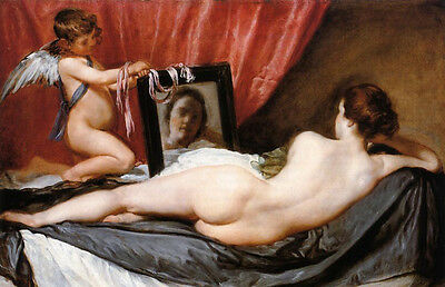 Art Oil painting Diego Velazquez - Venus at Her Mirror with angel cupid 36""