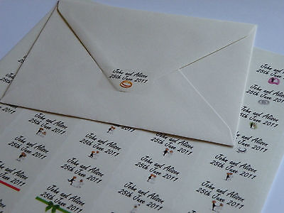 Personalised Translucent Wedding Invitation Seals Stickers, 65 on an A4 Sheet