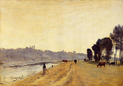 """Art Oil painting Corot - Banks of a River in summer landscape with cattles 36"""""""