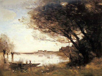 """Stunning Oil painting Corot - Canoe by lake with autumn trees in landscape 36"""""""