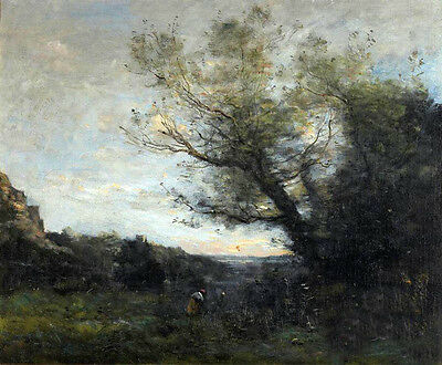 Nice Oil painting Corot - people working in sunset landscape & trees canvas 36""
