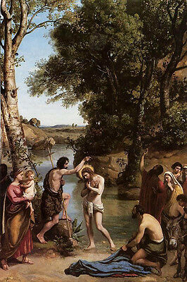 """Beautiful Oil painting Corot - The Baptism of Christ by river canvas 24""""x36"""""""