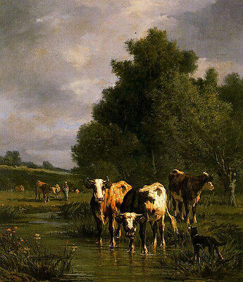 """Huge Oil painting cows cattles with dog in landscape by brook 24""""x36"""""""