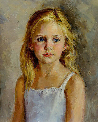 Dream-art Oil painting young beauty little girl portrait figure hand painted art
