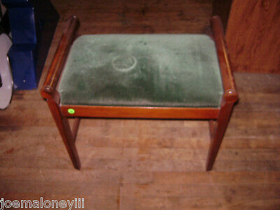 VINTAGE ANTIQUE STATESVILLE CHAIR CO. UPHOLSTERED GREEN VANITY BENCH