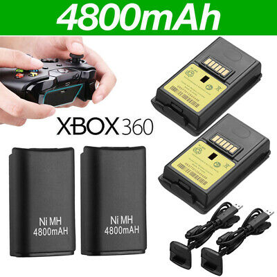 2x Battery Pack & USB Charger Cable For Microsoft Xbox 360 Wireless Controller