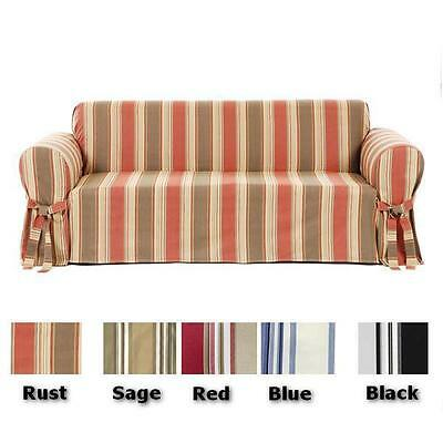 All Cotton Stripe Sofa or Loveseat or Chair Slip cover  in 5 COLORS
