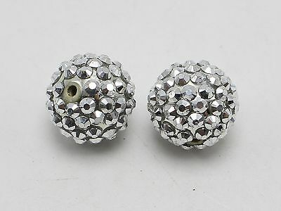 20 Silver Acrylic Rhinestone Pave DISCO Ball Beads 18mm Spacer Beads