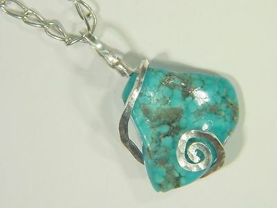 BUTW Hammered Sterling Silver 33mm Wire Wrapped Kingman Turquoise Pendant 0249E