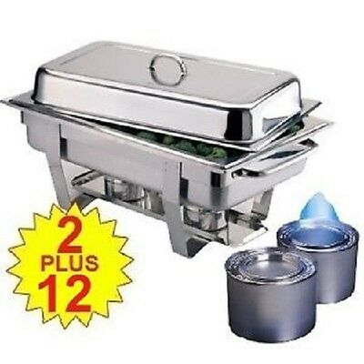Two Olympia Chafing Dishes And 12 Tins Of 6-Hour Fuel **Free Next Day Delivery**