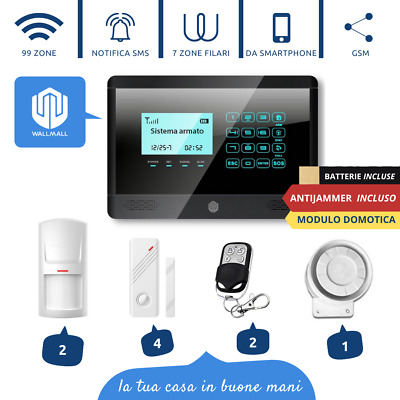 Antifurto Allarme Touch Screen Casa Kit Combinatore Gsm Wireless  Senza Fili