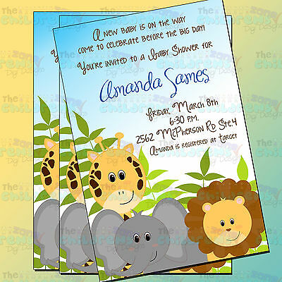 Safari Baby Shower Invitations 6-4x6-Baby Shower Invitations-It's a boy