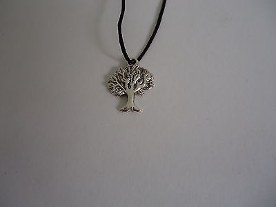 Silver Lucky Banian Tree Pendant on Black Cord for Good Luck Protection &Growth