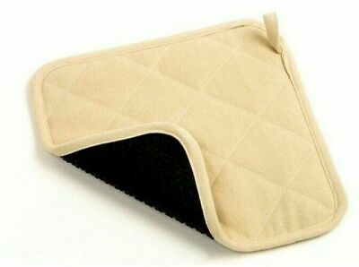 "Norpro 416 Square 9"" x 9"" Beige Fabric and Black Silicone Pot Holder"