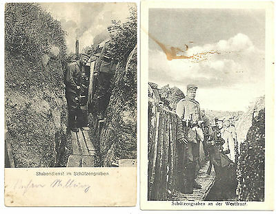 LOT 2 VINTAGE GERMAN WORLD WAR I POSTCARDS SOLDIERS IN TRENCHES