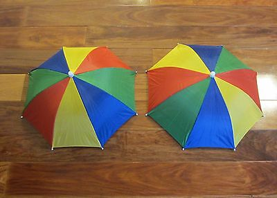 2 New Multicolor Umbrella Hats Cap Hands Free Elastic Head Band Shade Sports