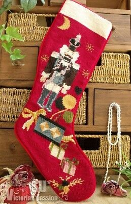 Vtg LARGE Completed Christmas Stocking SOLDIER Nutcracker Needlepoint GIFT RED
