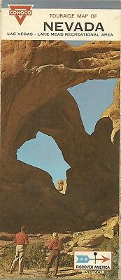1969 CONOCO Continental Oil Valley of Fire Road Map NEVADA Las Vegas Lake Tahoe