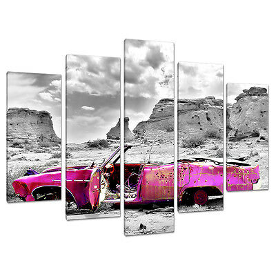 Set of 5 Piece Pink Canvas Wall Art Pictures Girls Bedroom Prints 5145