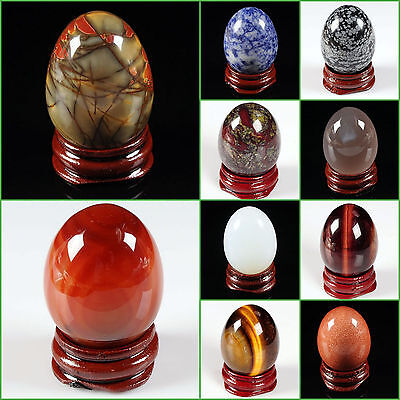 "40mm Gemstone rock crystal healing 1.6"" eggs shaped carving decor w/ stand"