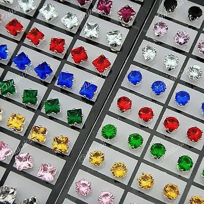 144pcs Cubic zircon Stainless Steel Square Round Stud Earrings Wholesale Jewelry