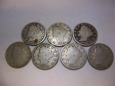 "Lot Of Assorted 7 Liberty ""V"" Nickels Five Cent Coins (Nice)"