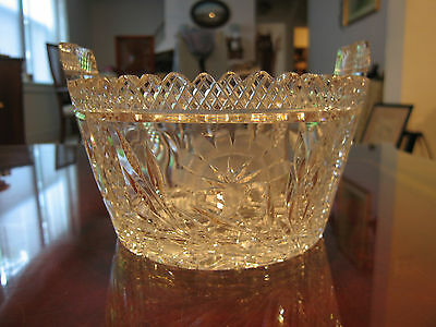 Vintage Antique American Cut Glass Two Handled Ice Tub w/ Thistle & Diamonds