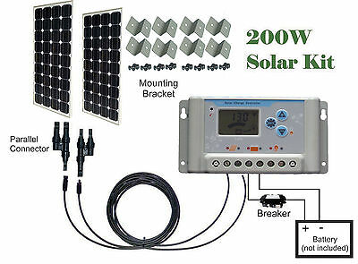 200W ( 2 x 100W ) watts Solar Panel Kit 30A charge controller Cable 12V RV Boat