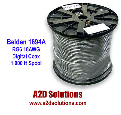 Belden 1694A - 1,000 feet - HD/SDI 18AWG RG6 Serial Digital Coaxial Cable
