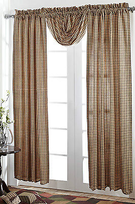 Calistoga Window Panels Set 2 Rustic Green Burgundy Red Plaid Tan Lined Curtains