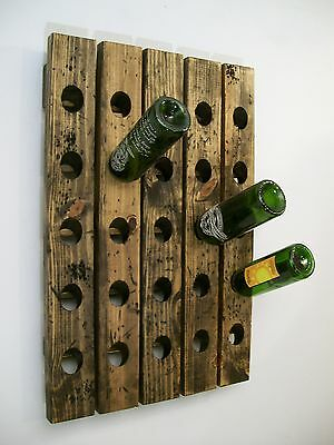 Wine Riddling Rack Wall Mounted Distressed Wood Handcrafted