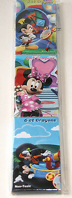Disney MICKEY MOUSE CLUBHOUSE~ (3) 6ct Crayons~ Birthday Party Supplies
