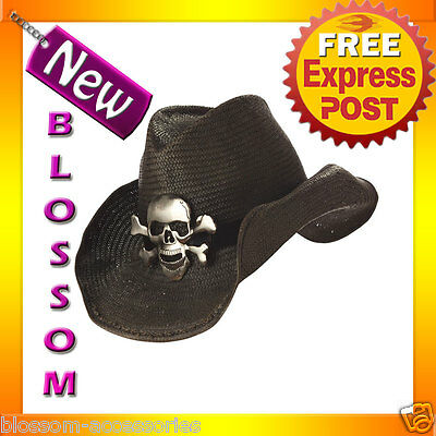 A115 Cowboy Black Hat with Silver Skull Crossbones Adult Fancy Costume Accessory