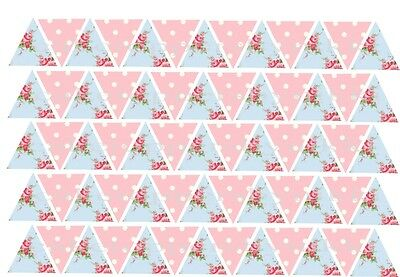 65//130 Edible Bunting Flag Vintage Shabby Chic Floral Icing Cake Cupcake Toppers