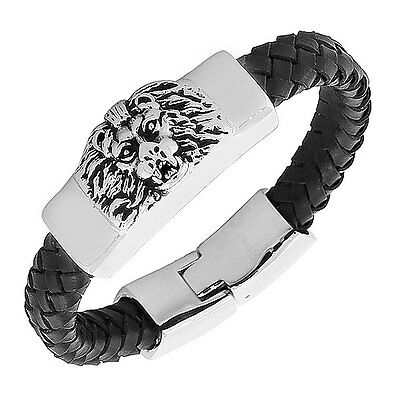 Stainless Steel Black Leather Silver-Tone Lion Mens Bangle Bracelet with Clasp
