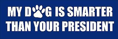 3x9 inch My Dog is Smarter Your President Bumper Sticker - idiot anti trump not
