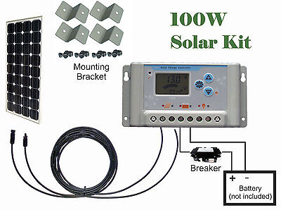 100W watts Solar Panel panneau solair Kit 30A charge controller Cable RV Boat