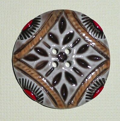Colorful Large Art Stone Button 4 Hole Sew Down Button