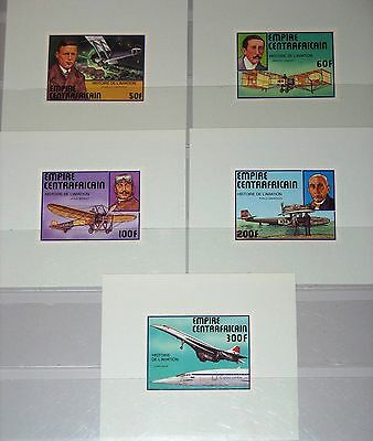 CENTRAL AFRICA ZENTRALAFRIKA 1977 501-05 Deluxe History Aviation Airplanes MNH