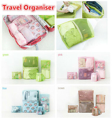 4 Travel Bag Pouch Trip Organiser Clothes Cosmetic Backpack Suitcase Luggage Set