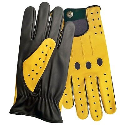 Men's top quality real soft leather driving gloves black with yellow star 507